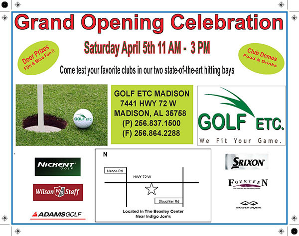Golf etc store opening flyer