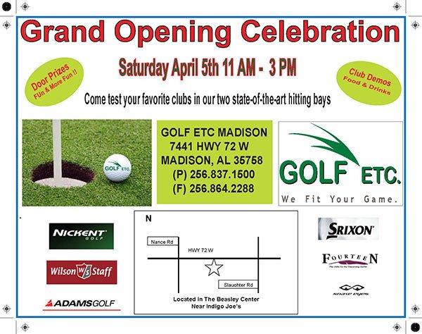 Golf etc store opening flyer