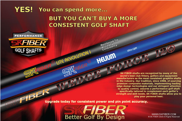 1/4 page ad for SK Fiber golf shaft company