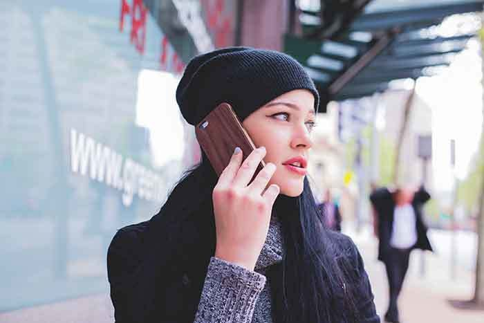 woman on phone for a voice search
