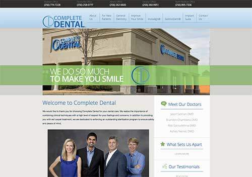 my complete dental website page
