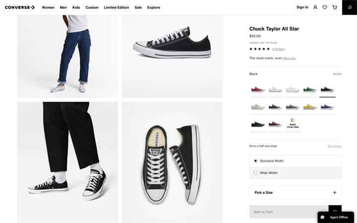 tennis shoe listing